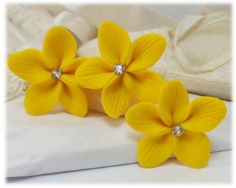 Yellow Flower Hair Pins - Yellow Flower Hair Clips, Yellow Flower Bobby Pins, Yellow Hair Flowers, Yellow Stephanotis Hair Pins