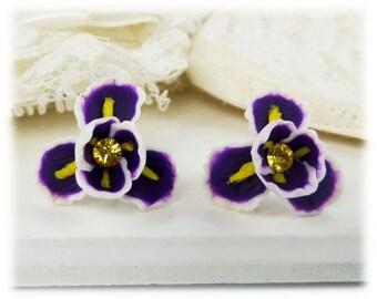Purple Iris Earrings Stud or Clip On - Iris Flower Jewelry, February Birthday Birth Flower