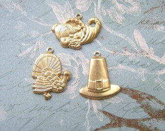 BRASS (12 Pieces) THANKSGIVING Theme Charms, Brass Stampings ~ Jewelry Findings (G) #