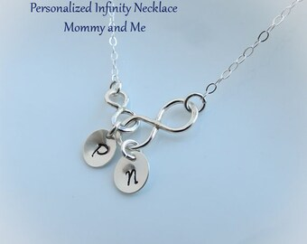 ON SALE Personalized Necklace,Mother Child Two Infinity Necklace Linked Together,Silver Infinity Personalized Gift for Mom, Two Infinity Jew