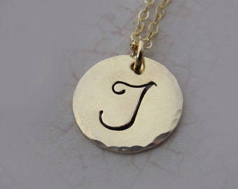 Monogram Necklace, Large Initial, Gold or Silver, Custom Necklace for Mom, Friendship Necklace, Hand Stamped Necklace, Personalized Necklace