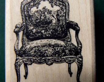 Victorian style chair  fauteuil WM rubber stamp P9