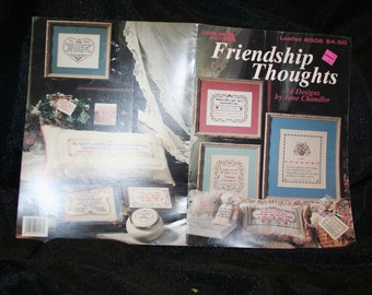 Vintage Leisure Arts Friendship Thoughts 14 Designs Cross Stitch Pattern Booklet SEWBUSY12