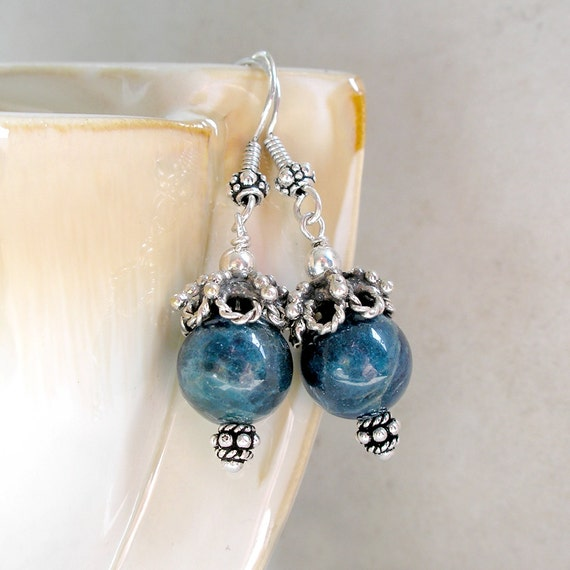 Teal Blue Apatite Earrings- Gemstone Sterling Silver Ethnic Drop Dangle Earrings
