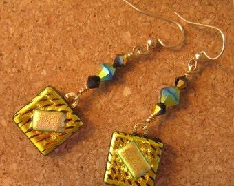 Golden Dichroic Earrings - Dangle Earrings - Glass Earrings - Swarovski Crystal Earrings - Fused Glass Jewelry