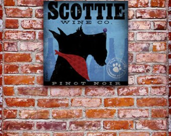 Scottie winery dog art illustration graphic art on gallery wrapped canvas by stephen fowler geministudio