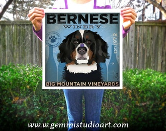 Bernese Mountain Dog Winery giclee archival print signed by artist stephen fowler