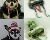 Dog earflap hat, Chose your Colors, pick 1, 2 or 3 colors, crocheted, XS, Small, Medium