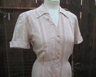 40s vintage day dress metallic check  Brown cotton Gingham 40s Shirtdress M L