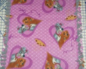 Disney Lady and the Tramp Purple Hand Tied Fleece Baby Pet Lap Blanket Shower Gift