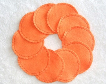 Reusable Cotton Rounds, Orange, Make-up Remover Pads, Cosmetic Face Pads, Ready to ship