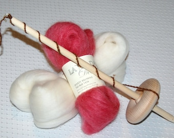 Drop Spindle, Spinning Kit, Bottom Whorl or Top Whorl, How to Spin, Spinning Instructions, wool roving, Spin your own yarn