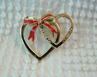 Vintage Gold Double Heart Brooch with Red Enamel Bow - A sweet gift