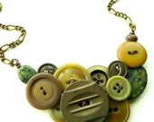 Vintage Button Necklace Woodland Goddess - Earth Tones Olive Green