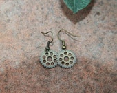 Bike Gear Earrings in Antique Gold-Could be Steampunk or Vintage
