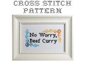 DIY No Worry, Beef Curry  - .pdf Original Cross Stitch Pattern - Instant Download