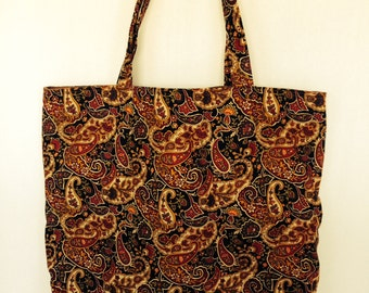 Large Tote-Paisley in Red, Black, Green & Brown (Bag 500)