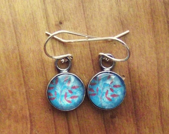 Glass, Sterling Silver Coral Leaf Earrings