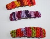 Crochet Hair Clips, Hair Accessories, Medium Hair Clip Trio, Late Summer into Autumn Color Mix