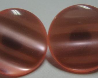 Pink Acrylic Moonstone Round Pierced Earrings