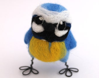 Mini Blue Tit Needle Felted Blue Tit British Wild Bird
