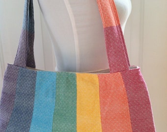 Woven Wrap Conversion Purse/Shoulder Bag Tote-  Girasol Light Rainbow