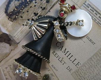 Vintage Asian Oriental Woman Figural Brooch, Pin, Black ... rhinestones, MOP fan, umbrella - SALE