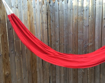 Put Your Feet Up Red Cotton Hammock