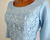 Powder Blue Organza and Lace Vintage 50s 60s Party Dress Du-Rite L