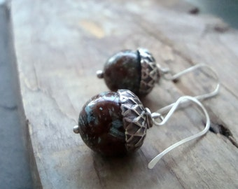 Silver Acorn Earrings with Jasper - Gemstone Fall Jewelry Woodland Nature Inspired Silver Bridesmaid Squirrel Weddings Rustic