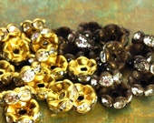 5mm - 12 pcs - Brass Patina Rhinestone Rondelle Spacer Beads - Wavy Edged - Choice of Antiqued Brass or Raw - Patina Queen