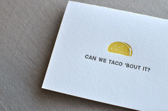 paperwheel letterpress taco card