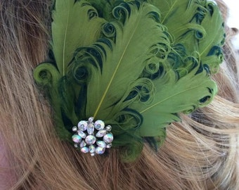 New handmade 1920s inspired green feather fascinator