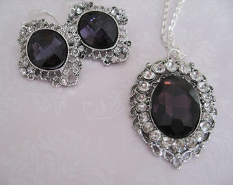 CLEARANCE Bridal Jewelry Bridal accessories Bridesmaids Jewelry Set Deep Purple Rhinestone bead necklace and earrings set