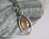 Sterling Silver Moonstone Necklace , Marquise Pendant , Rustic Wire Wrapped Jewelry