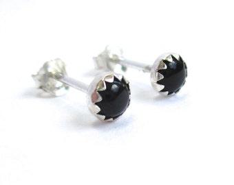 Black Stud Earrings, Mens Studs or Unisex Black Onyx Stud Earrings