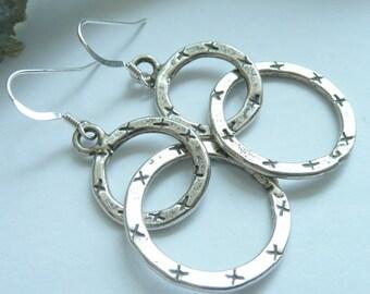 Entwined OOAK Karen Hill Tribe Fine Silver Etched Metalwork Bohemian Minimalist Gypsy Long Dangle Earrings