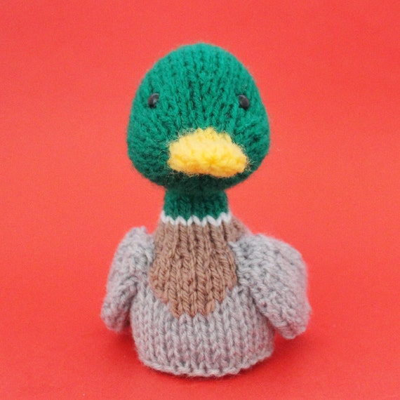 Free Knitting Patterns Toy Duck : Duck Toy Knitting Pattern PDF Toy Egg Cozy & Finger Puppet