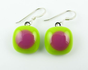 Lime & Pink Fused Glass Earrings. Made To Order. Fused Glass Jewelry. Glass Jewelry. Modern Earrings. Everyday Jewelry.