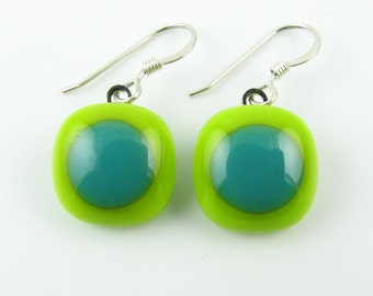 Lime and Teal Fused Glass Earrings. Made To Order. Fused Glass Jewelry. Handcut & designed in Texas. Simple Earrings. Modern Jewelry.