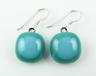 Teal & Turquoise Fused Glass Earrings. Made To Order. Fused Glass Jewelry. Glass Earrings. Earrings for Women. Everyday Jewelry.