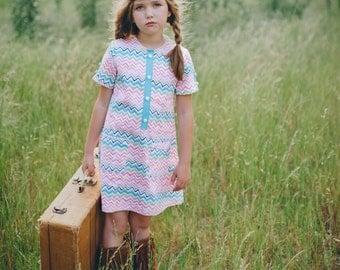 SALE!!!!!!!   Retro Style Chevron multicolored dress,children clothing