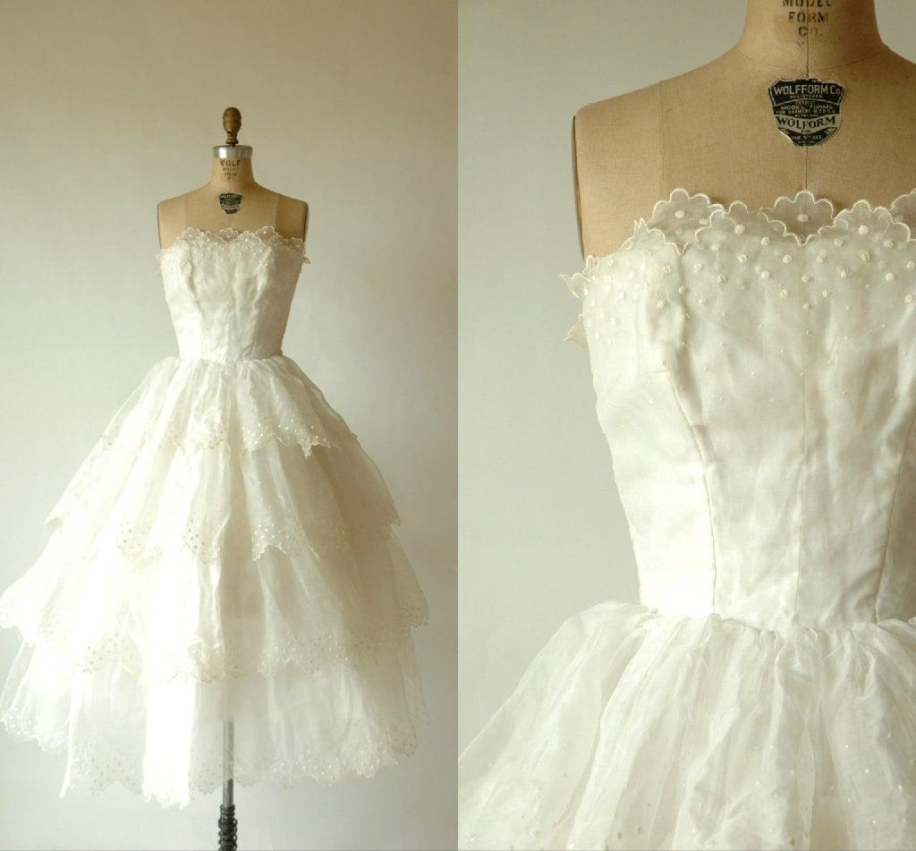 SALE Vintage Wedding Dress 1950s Tea Length Organza
