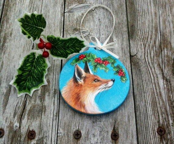 Fox Hand Painted Christmas Ornament-  Holly -Bright Blue- Woodland