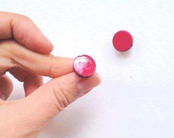 Pomegranate Stud earrings Fake Gauge Wooden Post Earrings Simple Studs Dark Pink
