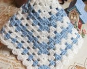 Crochet baby doll blanket afghan 16 inch square Blue  and White GRN15