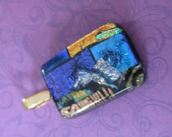 Colorful Dichroic Pendant, Royal Blue, Orange, Light Blue, Gold and Silver Glass, Modern Jewelry, Holiday Jewelry - Willa - 4678 -4