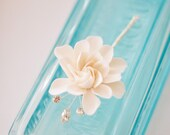 COUTURE CLAY - Made to Order, 2 inch White Elongated Gardenia Flower with Handwired Rhinestones with Silver Settings