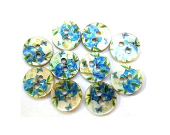 10 Shell buttons floral ornament beautiful design in unique blue shades 11.5mm GREAT for button jewelry