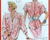 1980s Power Dressing Shirt Raglan Sleeves Burda 5780 Sewing Pattern 3 Sizes 10 12 14 36 38 40